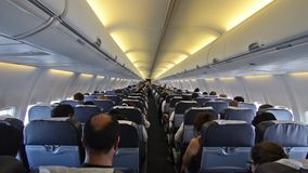 Traveling by plane. Interior of airplane with passengers on seats stock video footage