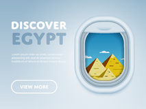 Traveling by plane. Landmarks in the window. Discover Egypt. Traveling the world by plane. Tourism and vacation theme. Attraction of airplane window. Modern Stock Images