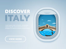 Traveling by plane. Landmarks in the window. Stock Images