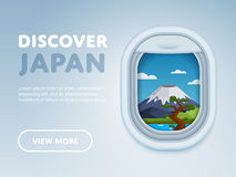 Traveling by plane. Landmarks in the window. Discover Japan. Traveling the world by plane. Tourism and vacation theme. Attraction of airplane window. Modern Royalty Free Stock Photo