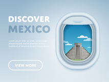 Traveling by plane. Landmarks in the window. Discover Mexico. Traveling the world by plane. Tourism and vacation theme. Attraction of airplane window. Modern Stock Photos