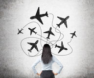 Traveling by plane Stock Images