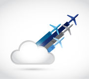 traveling planes and cloud illustration Royalty Free Stock Photos