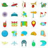 Traveling on the planet icons set, cartoon style. Traveling on the planet icons set. Cartoon set of 25 traveling on the planet icons for web isolated on white Royalty Free Stock Images