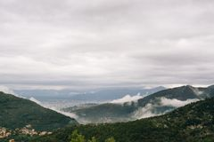 Low Clouds. Traveling from Pompei to Amalfi Royalty Free Stock Image