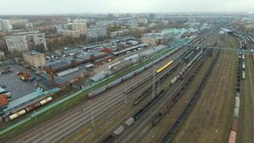Traveling by rail train in city. Traveling by rail train - aerial view HD stock video footage