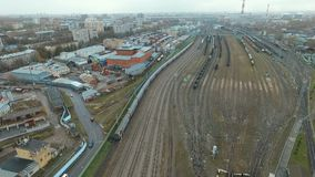 Traveling by rail train in city. Traveling by rail train - aerial view HD stock video