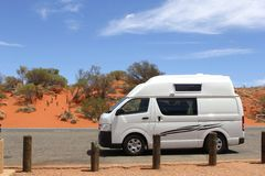 Traveling in a RV in the red desert, Australia Royalty Free Stock Photography