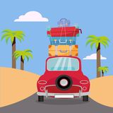 Traveling by red car with stack of luggage bags on roof near beach with palms. Summer tourism, travel, trip. Flat cartoon vector royalty free illustration