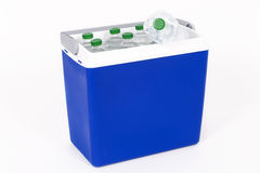 Traveling refrigerator with bottles of water Stock Image