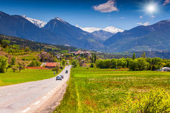 Traveling the roads of Alps Royalty Free Stock Photos
