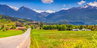 Traveling the roads of Frence. Traveling the roads of French Alps Stock Photos