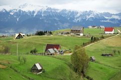Traveling in Romania. View of Bucegi mountains from Petstera village, Romania Stock Image