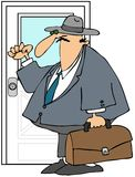 Traveling Salesman. This illustration depicts a traveling salesman carrying a briefcase and knocking on a door stock illustration