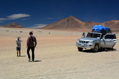 Traveling in Salvador Dalí Desert. Eduardo Avaroa Andean Fauna National Reserve. Bolivia. Salvador Dalí Desert, also known as Dalí Valley, is an extremely Royalty Free Stock Image