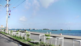 Traveling through San Andres Island. San Andres,Colombia,January 14 2014. View of the San Andres Island Streets,Buildings and Area from inside a car stock video footage