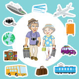 Traveling Senior Couple and  Transportation sets Royalty Free Stock Photography