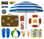 Traveling set with tourist and beach accessories Royalty Free Stock Image
