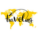 Traveling. Silhouette of world map. Royalty Free Stock Photo