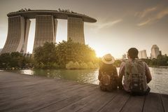 Traveling in Singapore with landmark view. stock image
