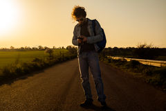 Traveling with Smartphone royalty free stock photo