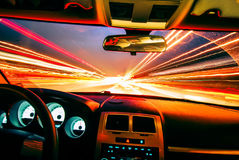 Traveling at speed of light. During evening commute royalty free stock photo