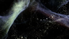 Traveling through star fields in deep space. Space 2060: Traveling through star fields in deep space (Loop stock footage