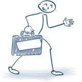 Traveling stick figure with suitcase Stock Photos
