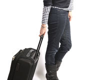 Traveling with suitcase royalty free stock image