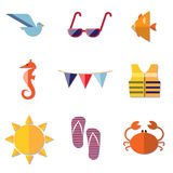 Traveling, Summer Vacation and Tourism Icons Royalty Free Stock Photography