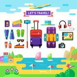Traveling template. Vocations accessories. Flat. Stock Photo