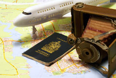 Traveling Themed Items Royalty Free Stock Image