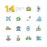 Traveling - thick line icons set Royalty Free Stock Images