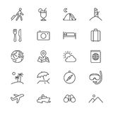 Traveling thin icons. Simple, Clear and sharp. Easy to resize Stock Images