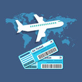 Traveling, Ticket booking concept. Flat design stylish. Stock Photo