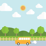 Traveling to the farm by car Royalty Free Stock Photography