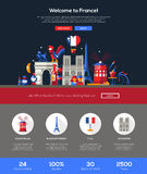 Traveling to France website header banner with webdesign elements Stock Image