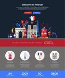 Traveling to France website header banner with webdesign elements Stock Image