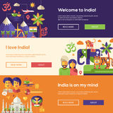 Traveling to India website headers banners set Stock Images