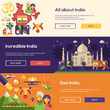 Traveling to India website headers banners set Stock Photo
