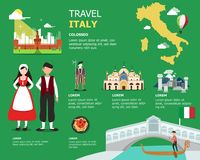 Traveling to Italy by landmarks map illustration Royalty Free Stock Photos