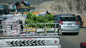 Traveling to Kairo. EGYPT - APRIL 28: Following truck with green bananas in Egypt stock video