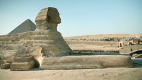 Traveling to Kairo. EGYPT - APRIL 28: Panning huge sphinx from ancient Egypt times stock video