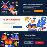 Traveling to Netherlands website headers banners set Stock Images