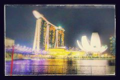 Traveling to Singapore, Marina Bay at night, full of light. Stock Image