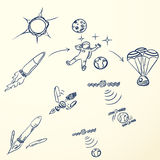 Traveling to space vector set. Traveling to space vector illustration set Stock Images