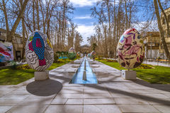 Traveling to Tehran in Norooz. Easter eaggs, Baq Ferdows in Iran during spring 2017 stock images