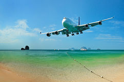 Traveling to tropical countries by airplane Royalty Free Stock Images