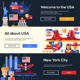 Traveling to the USA website headers banners set Royalty Free Stock Image