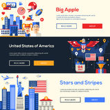 Traveling to the USA website headers banners set Royalty Free Stock Photography